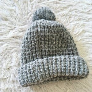 Forever 21 Knitted Grey Poof Beanie